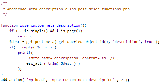 Código php meta description en functions.php de WordPress