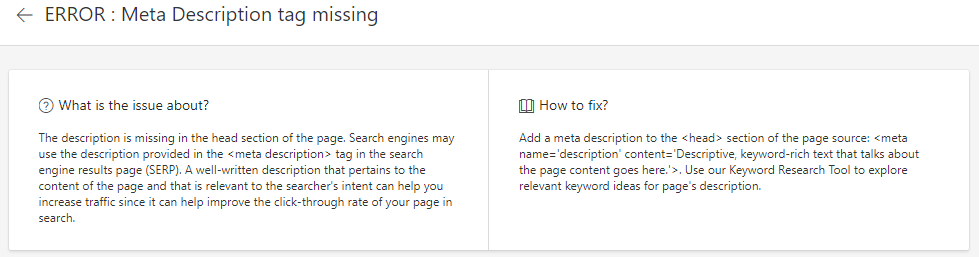 Descripción del aviso falta meta description en Bing Webmaster Tool