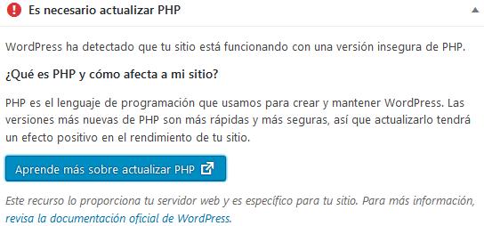 Es necesario actualizar PHP - Wordpress