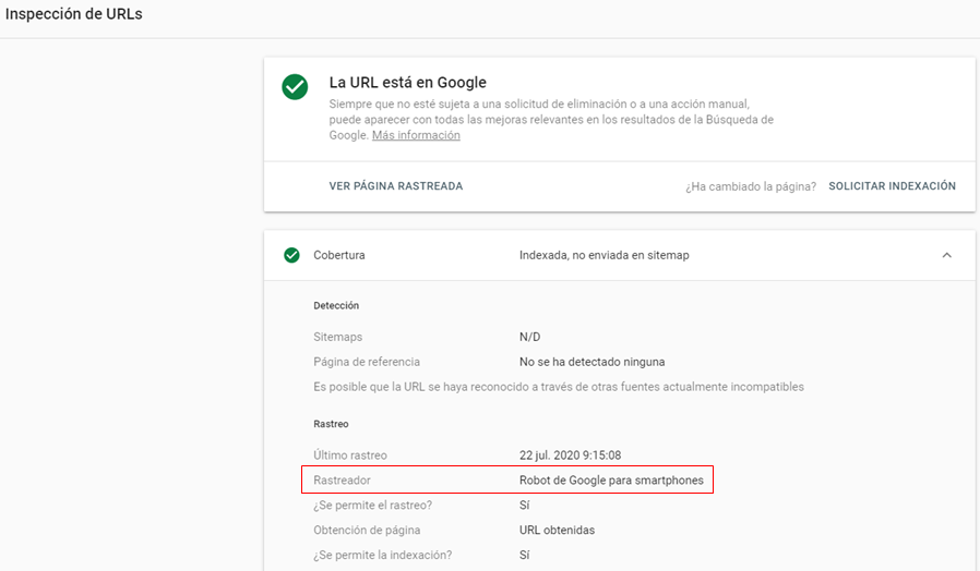 Mobile First Indexing en Search Console