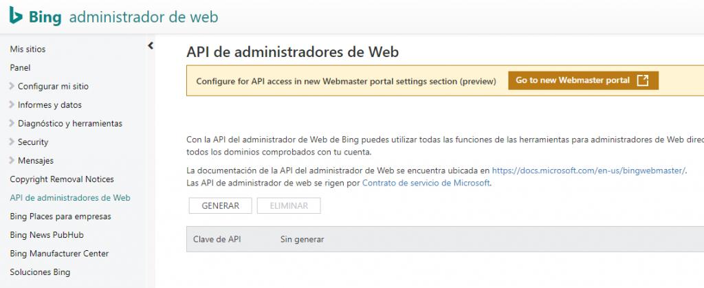 API key Bing Webmaster Tools