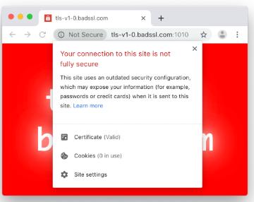 Mensaje de seguridad de conexión que se mostrará a los usuarios que visiten un sitio utilizando TLS 1.0 o 1.1 a partir de enero de 2020.