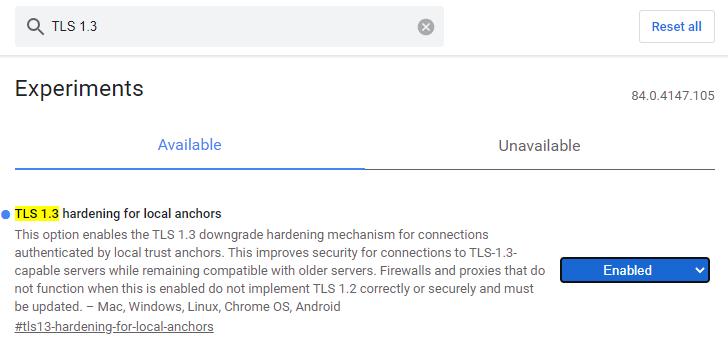 Flags de Chrome Beta TLS 1.3