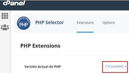 Selector de la versión de PHP más reciente