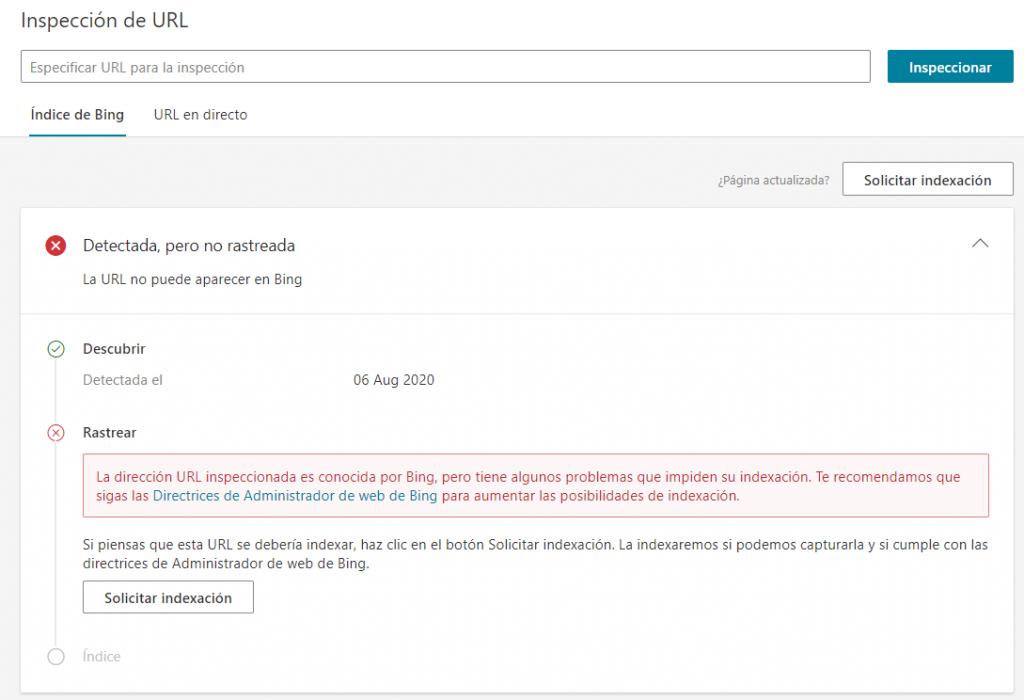 Captura Inspección de URL Bing Webmaster Tools
