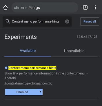Captura de pantalla versión de Chrome Android v84